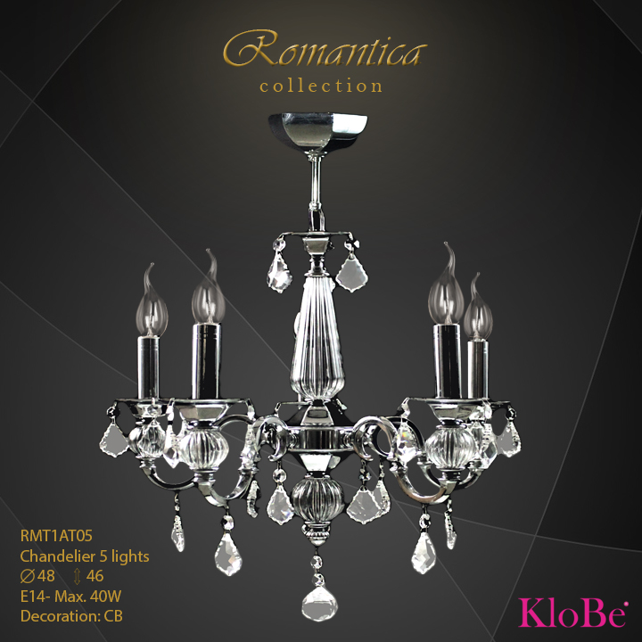 RMT1AT05 (CB) - CHANDELIER  5L  Romantica collection KloBe Classic