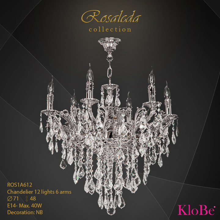 ROS1A612  - CHANDELIER  12L  Ribera collection KloBe Classic