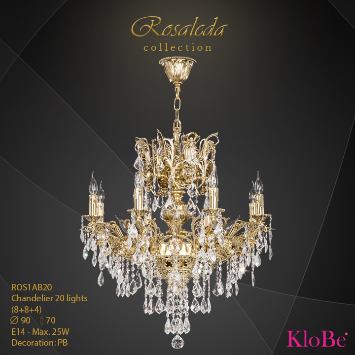 ROS1AB20  - CHANDELIER  12L  Ribera collection KloBe Classic