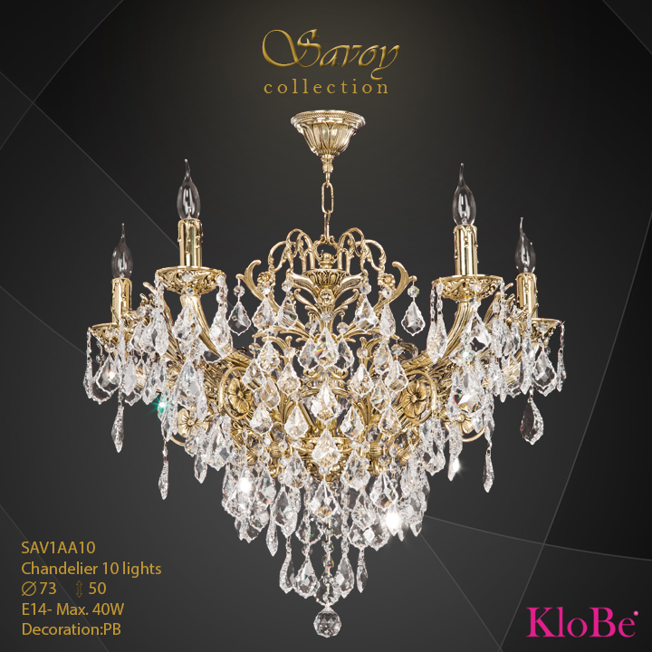 SAV1AA10  - CHANDELIER  10L  Savoy collection KloBe Classic