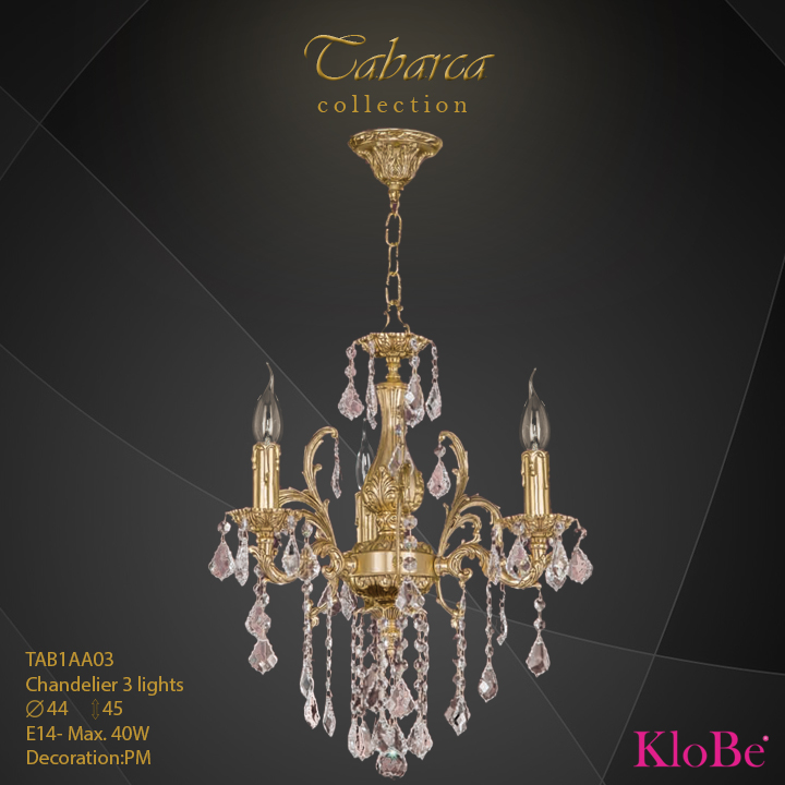 TAB1AA03  - CHANDELIER  3L  Chandelier collection KloBe Classic