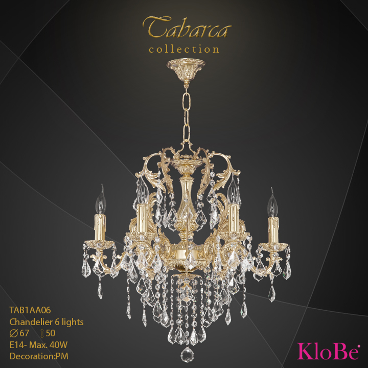 TAB1AA06  - CHANDELIER  6L  Tabarca collection KloBe Classic