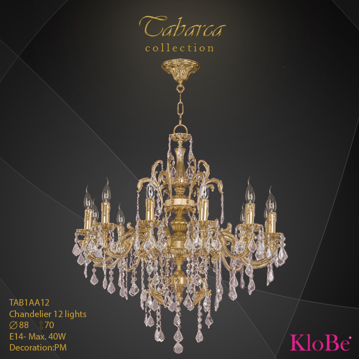 TAB1AA12  - CHANDELIER  12L  Tabarca collection KloBe Classic