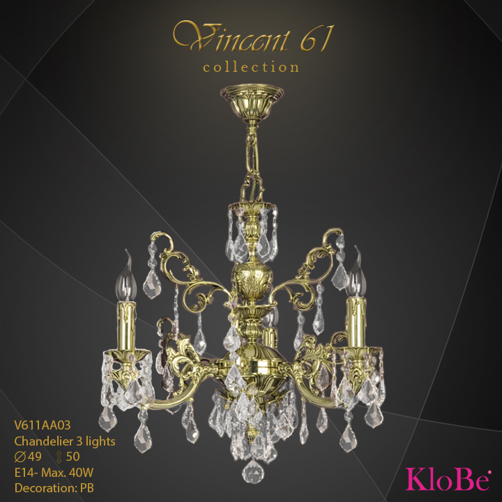 V611AA03 -CHANDELIER 3L V61  collection KloBe Classic