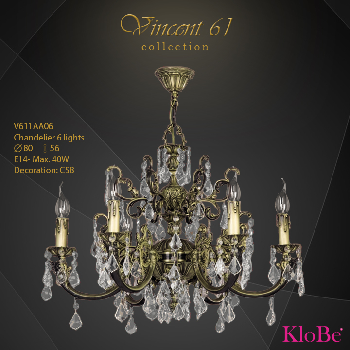 V611AA06 -CHANDELIER 6L V61 collection KloBe Classic