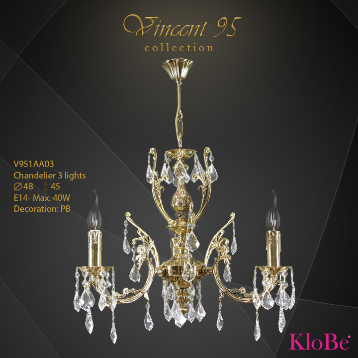 V951AA03 - CHANDELIER 3L V95 collection KloBe Classic