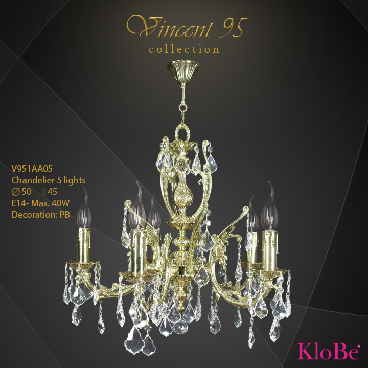 V951AA05 - CHANDELIER 5L V95 collection KloBe Classic