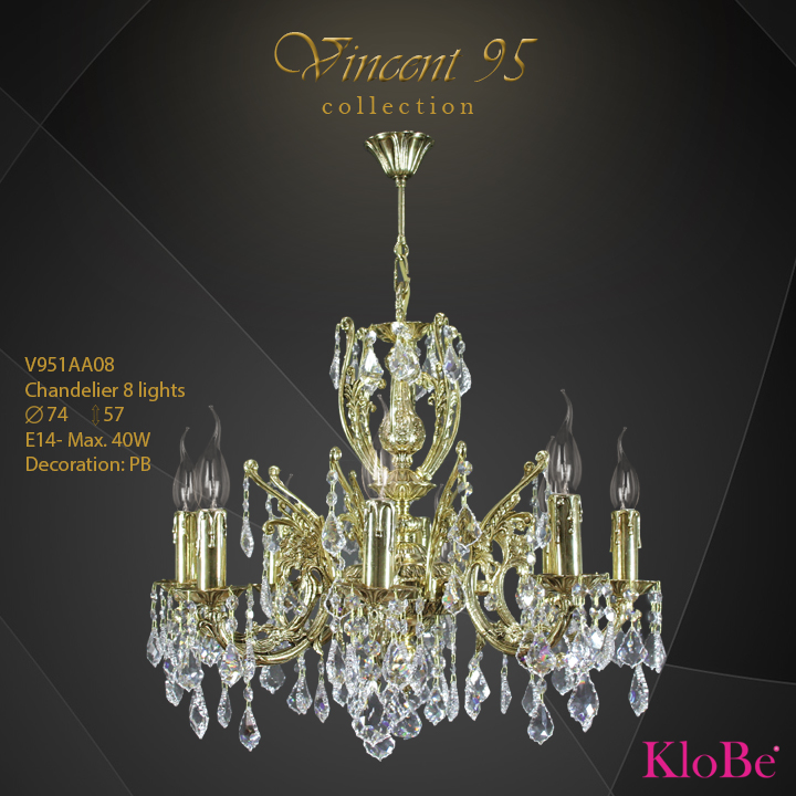 V951AA08 - CHANDELIER 8L V95 collection KloBe Classic