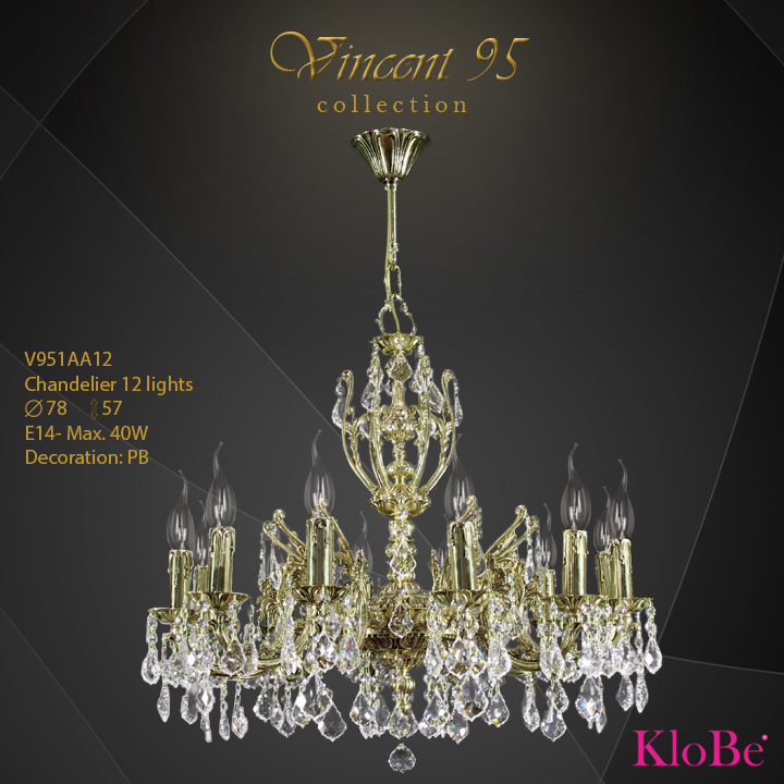 V951AA12 - CHANDELIER 12L V95 collection KloBe Classic