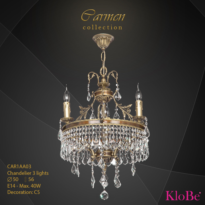 CAR1AA03 - Chandelier 3 L Carmen collection KloBe Classic