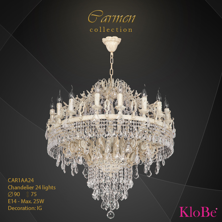CAR1AA24 - Chandelier 24 L Carmen collection KloBe Classic