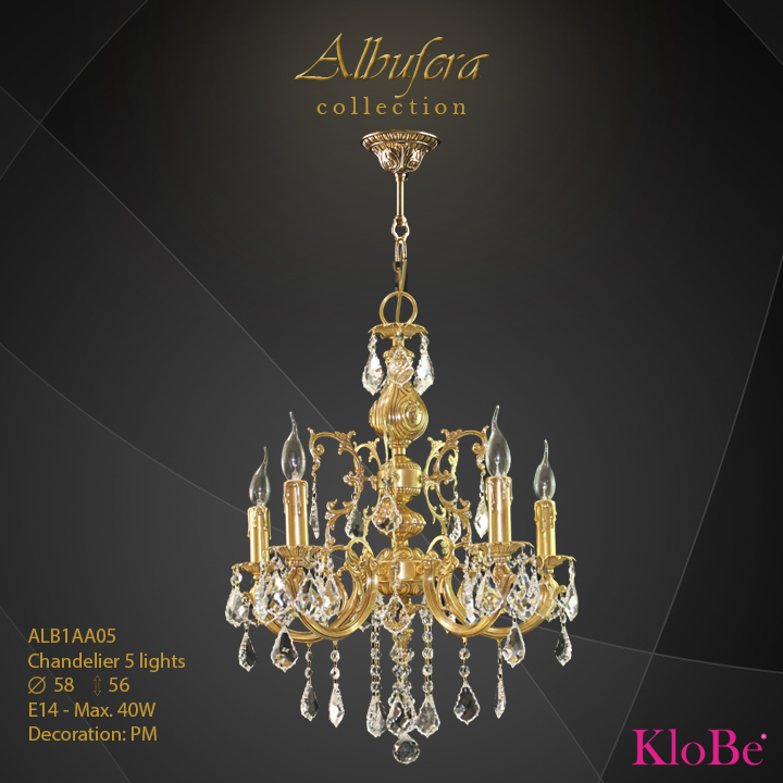 ALB1AA05- Chandelier 5 L  ALBUFERA collection KloBe Classic