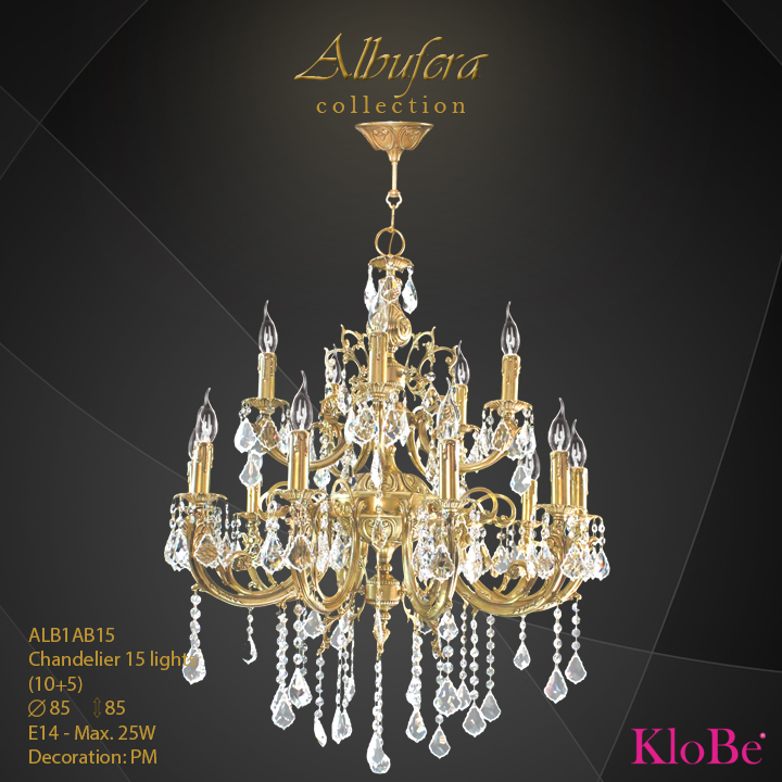 ALB1AB15- Chandelier 15 L  ALBUFERA collection KloBe Classic