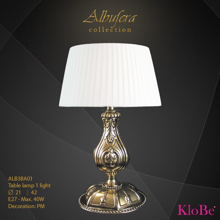 ALB3BA01- table Lamp 1 L  ALBUFERA collection KloBe Classic
