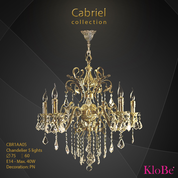 CBR1AA05 - Chandelier 5 L Cabriel collection KloBe Classic