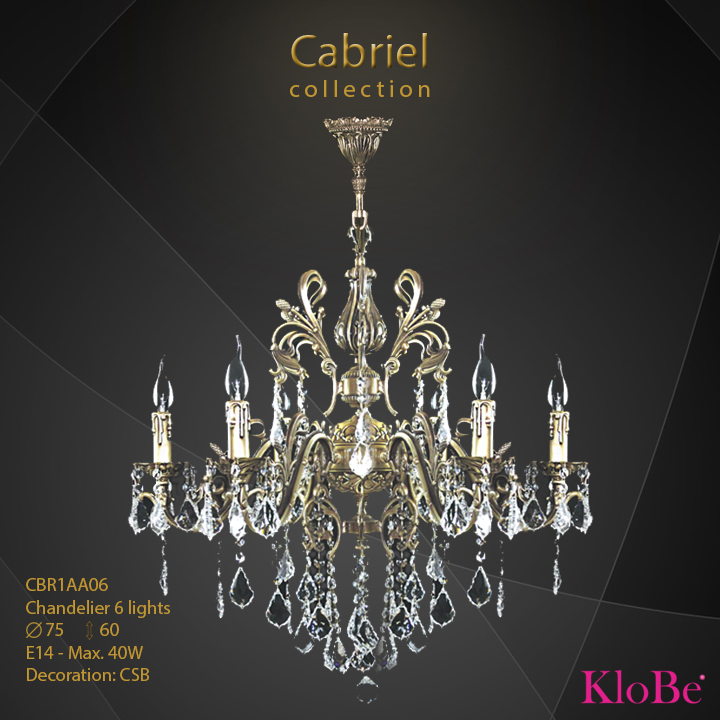 CBR1AA06 - Chandelier 6 L Cabriel collection KloBe Classic