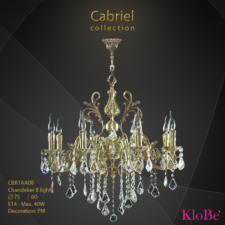 CBR1AA08 - Chandelier 8 L Cabriel collection KloBe Classic