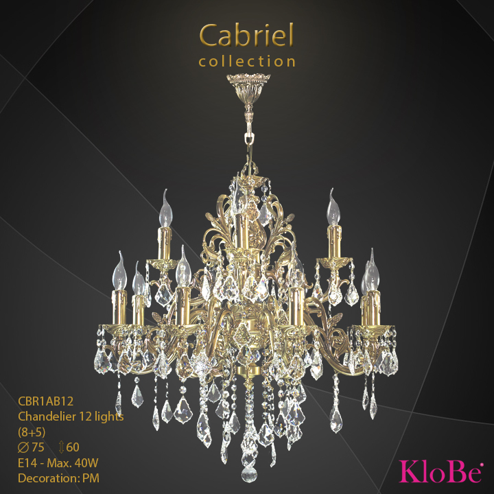 CBR1AB12 - Chandelier 12 L Cabriel collection KloBe Classic
