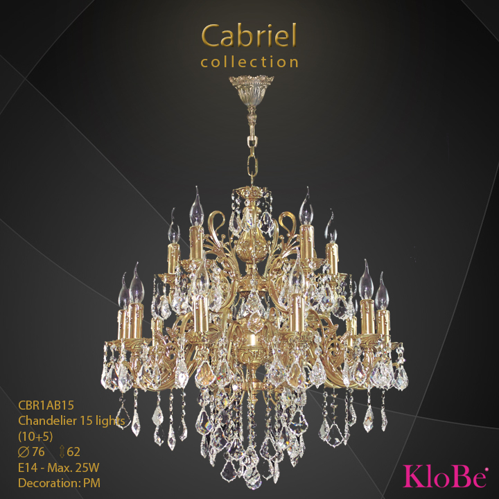 CBR1AB15 - Chandelier 15 L Cabriel collection KloBe Classic