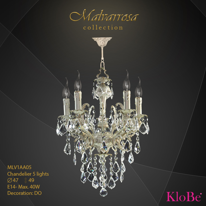 MLV1AA05 -Chandelier 5 L Malvarrosa collection KloBe Classic