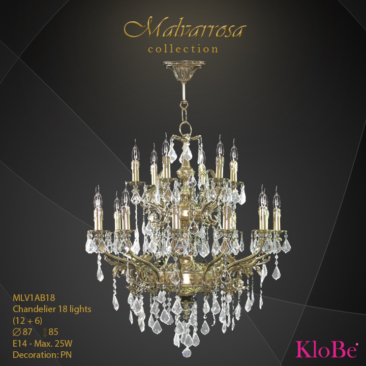 MLV1AB18 - CHANDELIER 18B Malvarrosa collection KloBe Classic