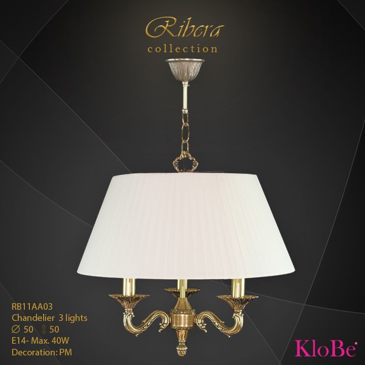 RB11AA03  - CHANDELIER  3L  Ribera collection KloBe Classic