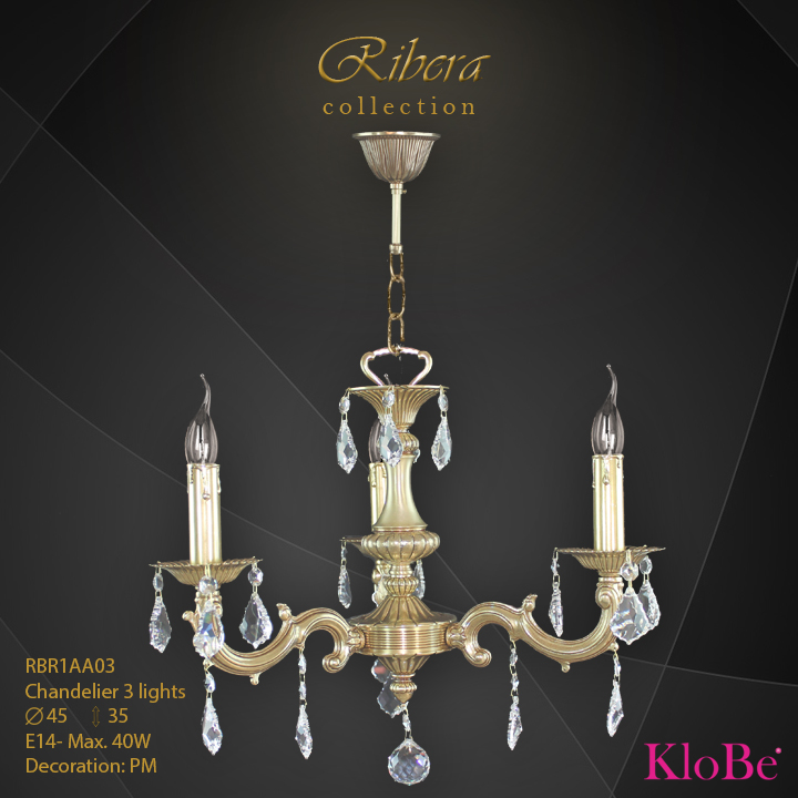 RBR1AA03  - CHANDELIER  3L  Ribera collection KloBe Classic