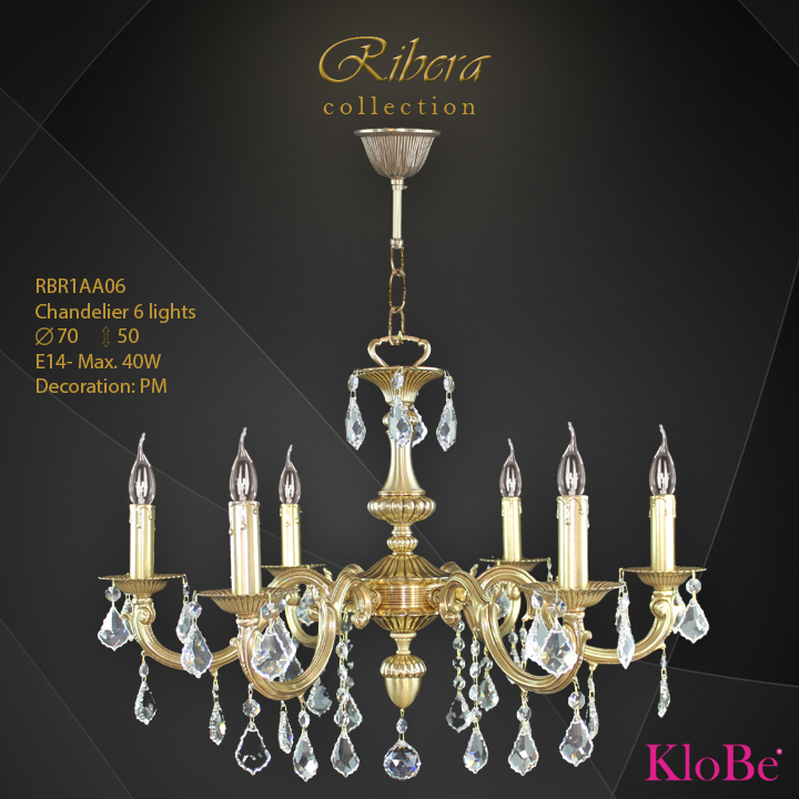 RBR1AA06  - CHANDELIER  6L  Ribera collection KloBe Classic