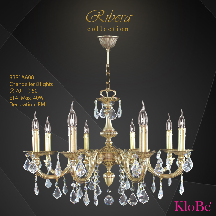 RBR1AA08  - CHANDELIER  8L  Ribera collection KloBe Classic