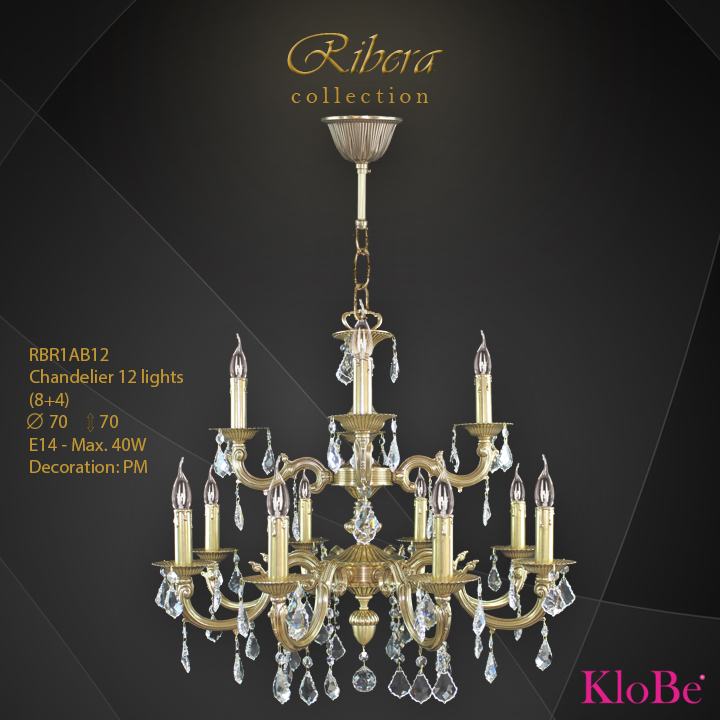 RBR1AB12  - CHANDELIER  12L  Ribera collection KloBe Classic