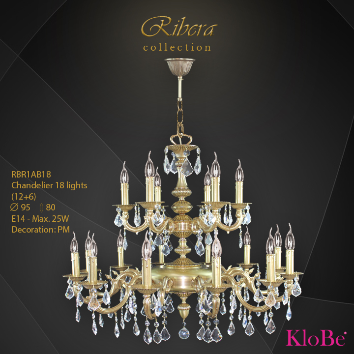 RBR1AB18  - CHANDELIER  18L  Ribera collection KloBe Classic