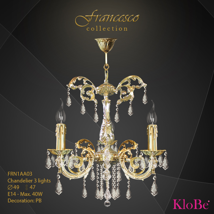 FRN1AA03 -Chandelier 3 L Francesco collection KloBe Classic