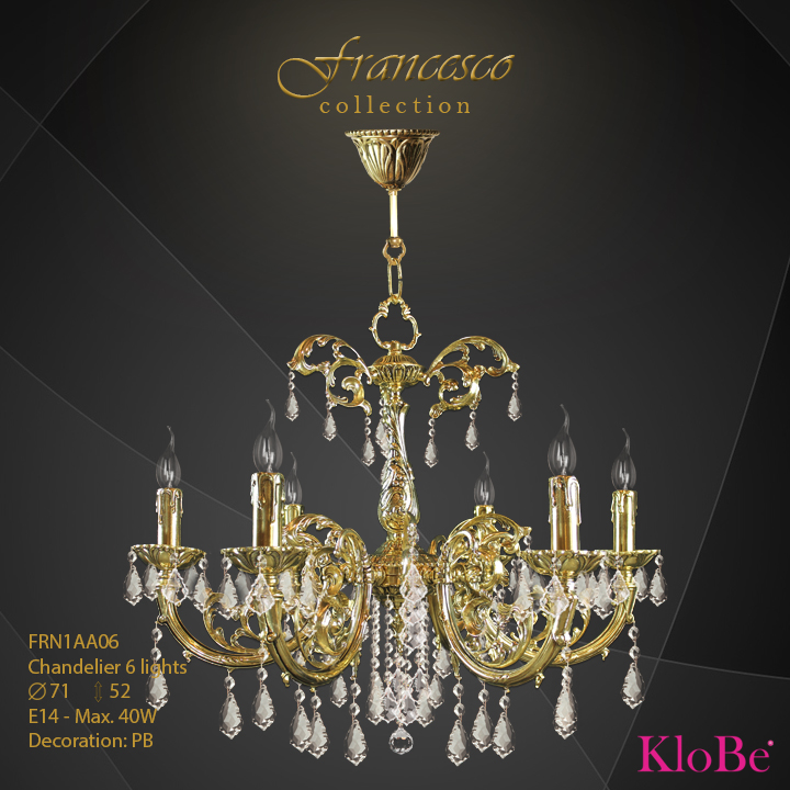 FRN1AA06 -Chandelier 6 L Francesco collection KloBe Classic