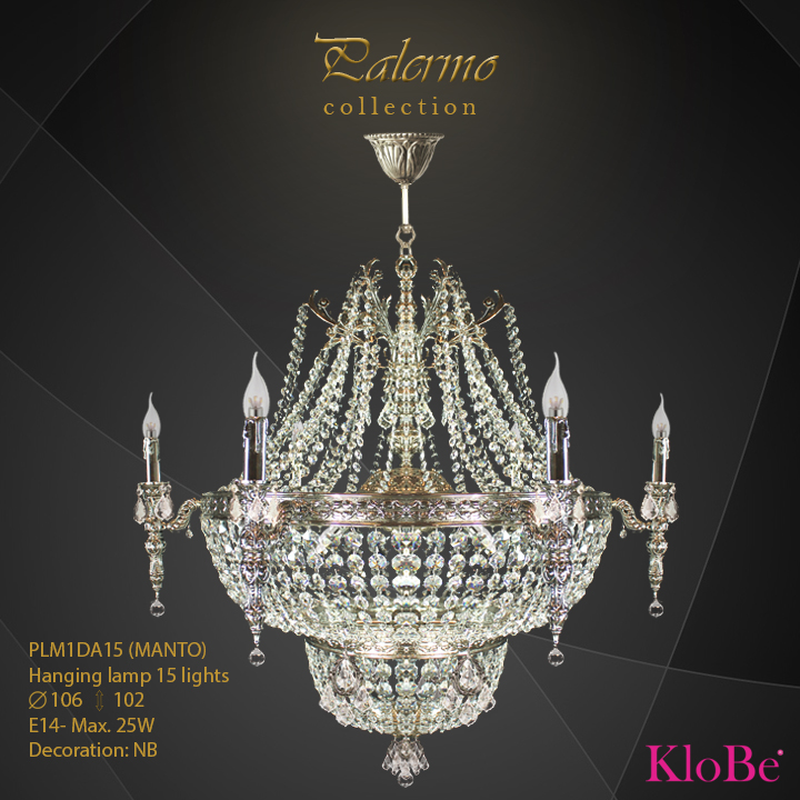 PLM1DA15 (MANTO) -Hanging lamp 15 L Palermo collection KloBe Classic