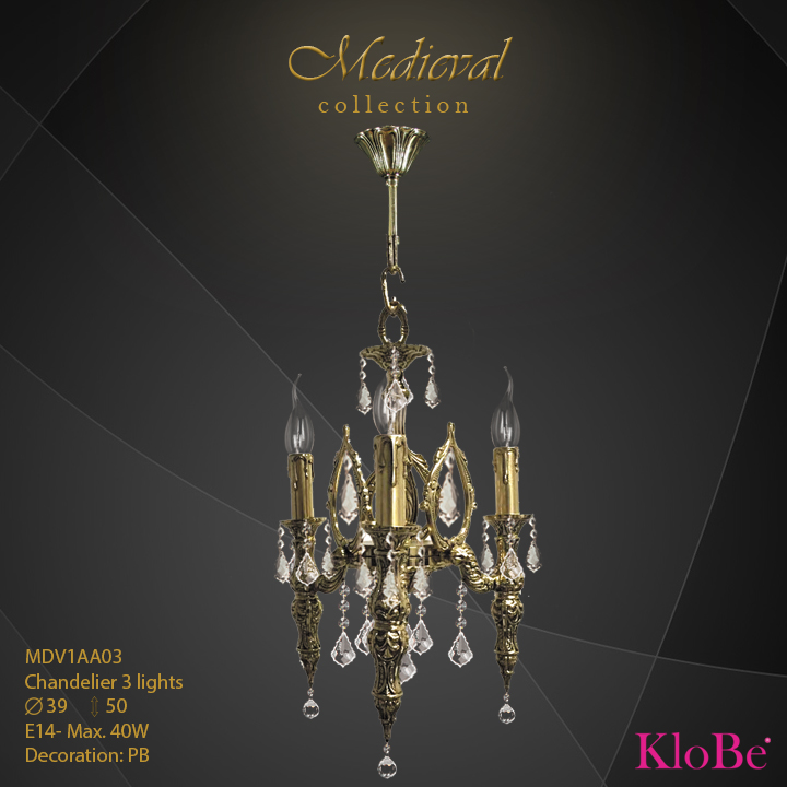 MDV1AA03  - CHANDELIER  3L  Medieval collection KloBe Classic