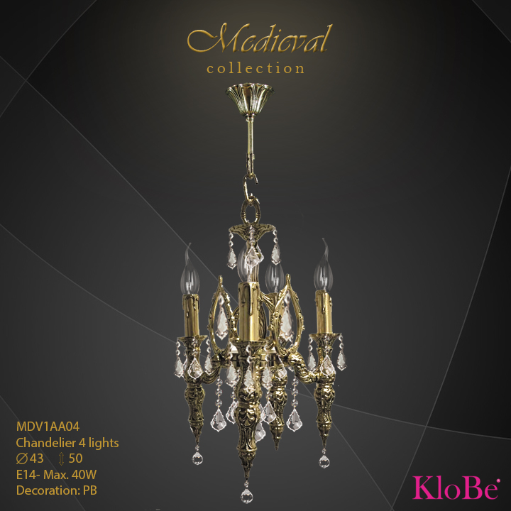 MDV1AA04  - CHANDELIER  4L  Medieval collection KloBe Classic