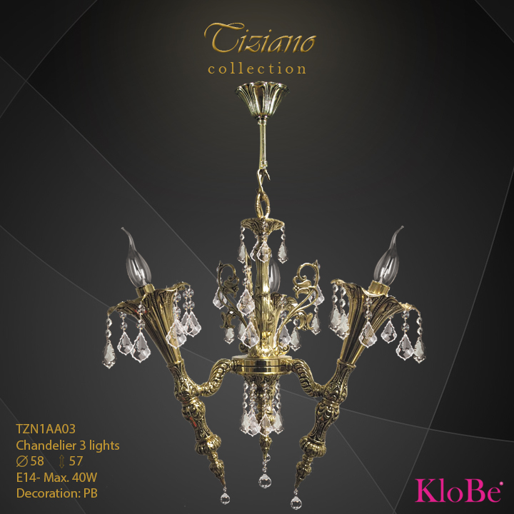 TZN1AA03  - CHANDELIER  3L  Tiziano collection KloBe Classic