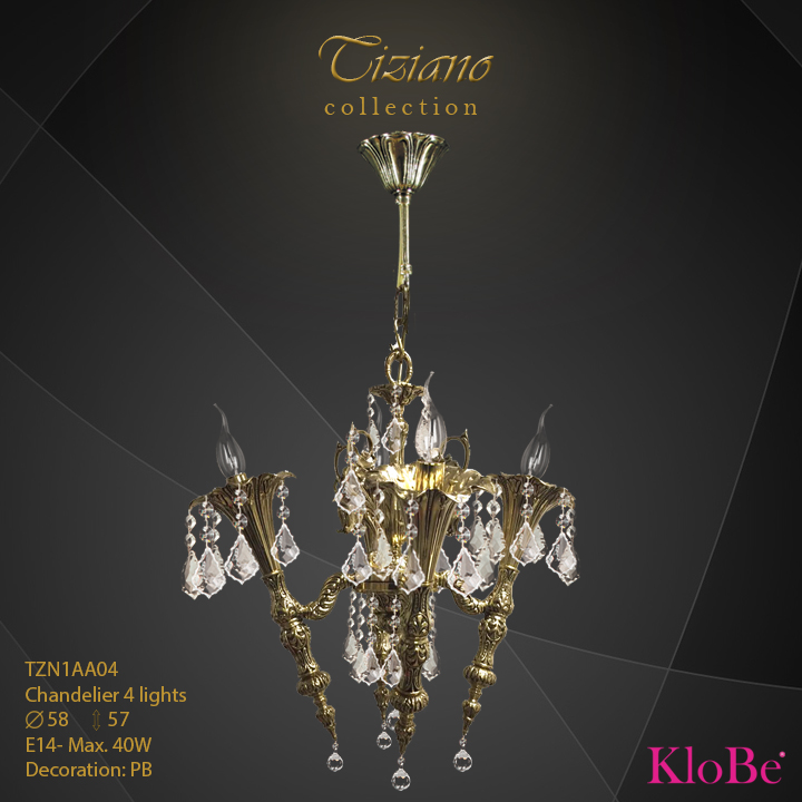 TZN1AA04  - CHANDELIER  4L  Tiziano collection KloBe Classic