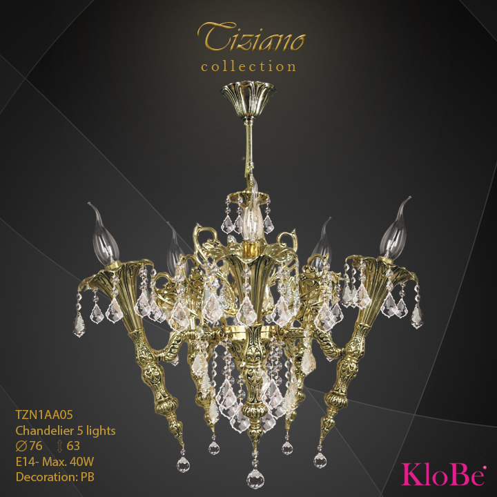 TZN1AA05  - CHANDELIER  5L  Tiziano collection KloBe Classic