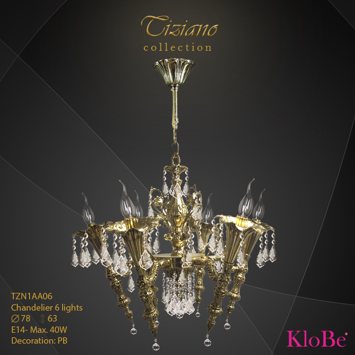 TZN1AA06  - CHANDELIER  6L  Tiziano collection KloBe Classic