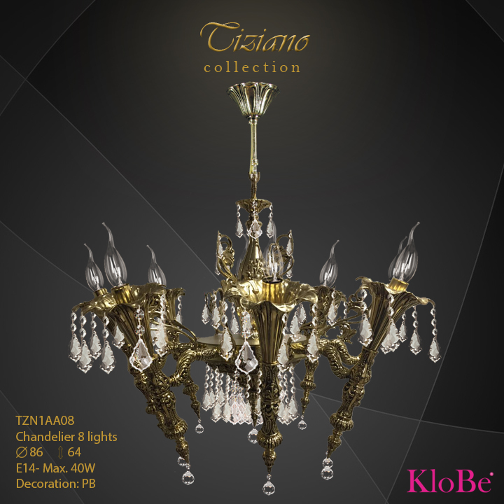 TZN1AA08  - CHANDELIER  8L  Tiziano collection KloBe Classic