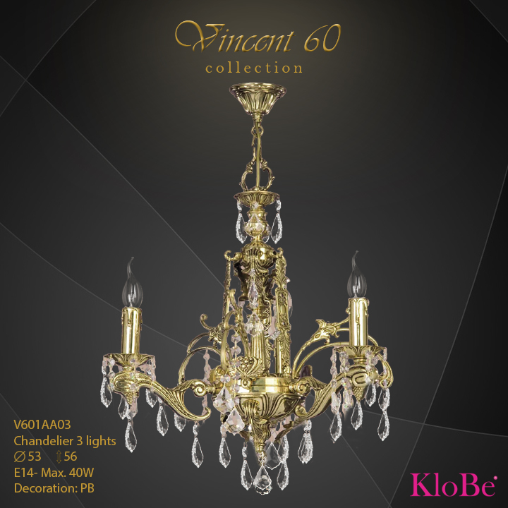 V601AA03 - CHANDELIER  3L  V60 collection KloBe Classic