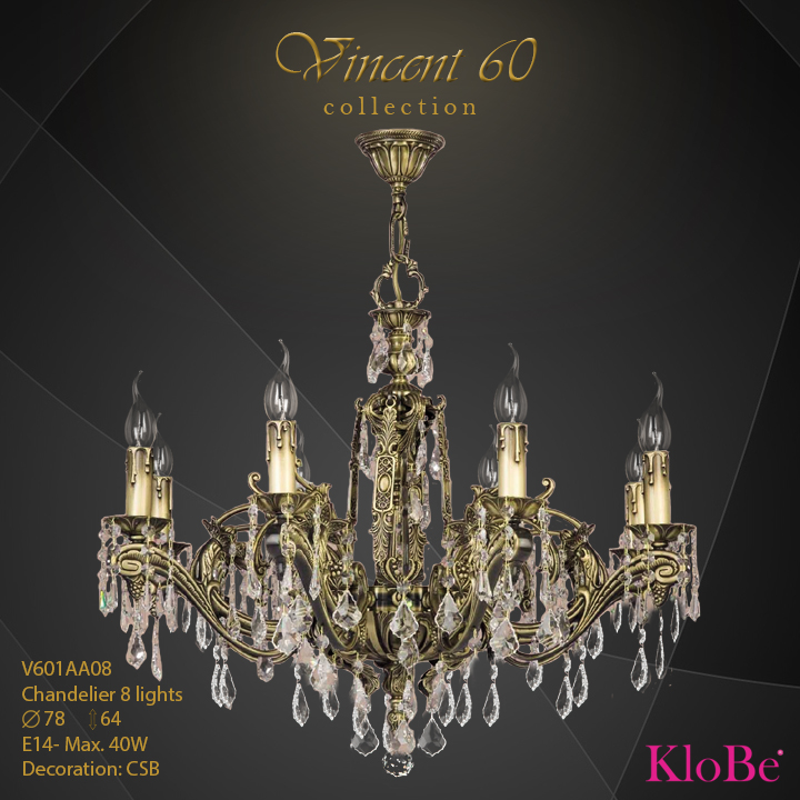 V601AA08 - CHANDELIER  8L  V60 collection KloBe Classic