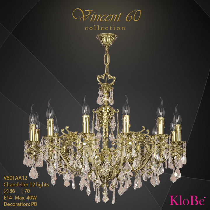 V601AA12 - CHANDELIER  12L  V60 collection KloBe Classic
