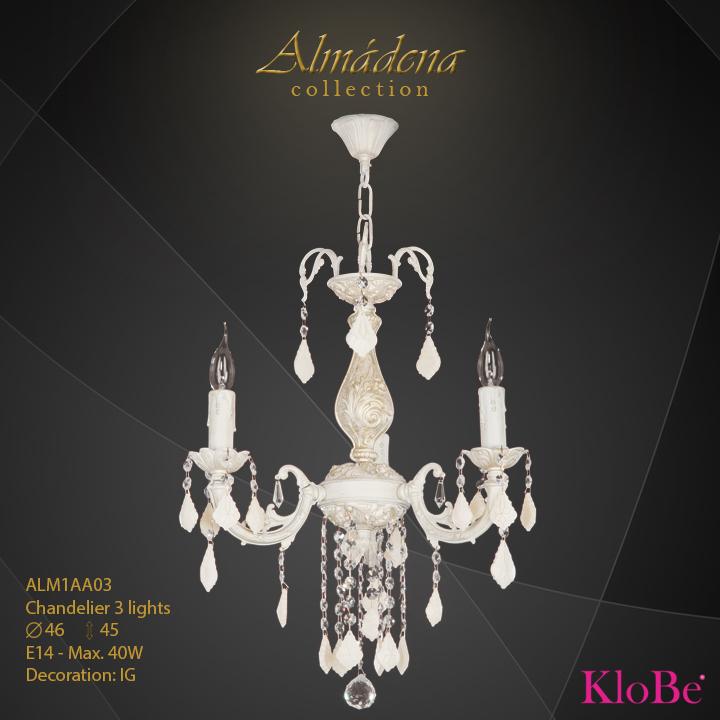 Luminaria de araña 3 luces - Colección Almádena - KloBe Classic