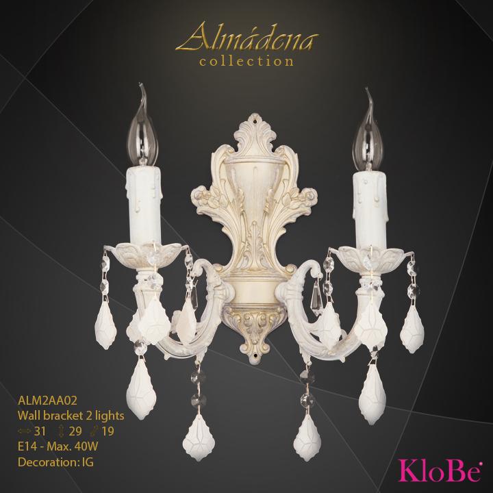 Aplique de pared de 2 luces - Colección Almádena - KloBe Classic