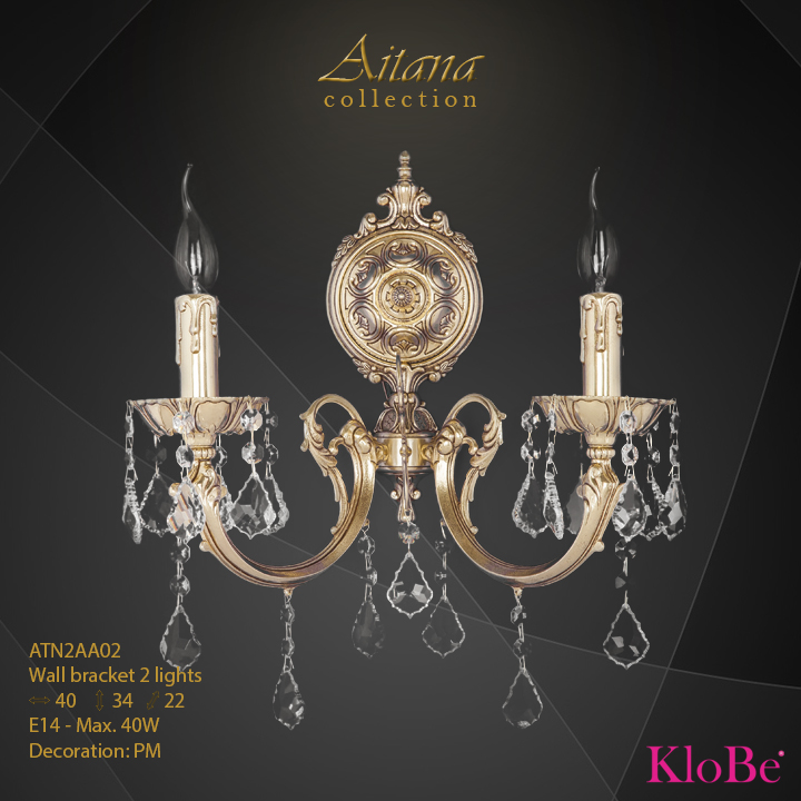 Aplique de pared 2 luces - colección Aitana - KloBe Classic