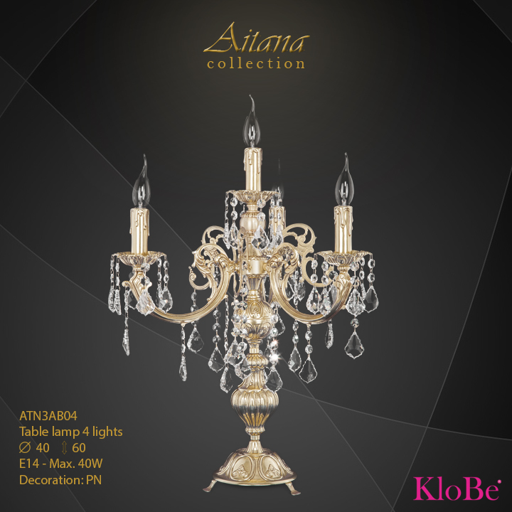 Luminaria de sobremesa 4 luces - colección Aitana - KloBe Classic