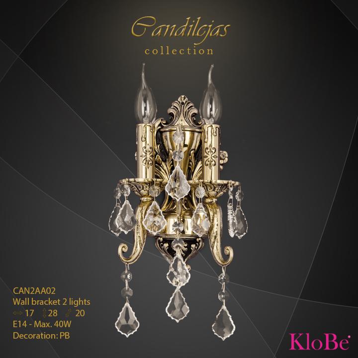 Aplique de pared 2 luces - colección Candilejas - KloBe Classic