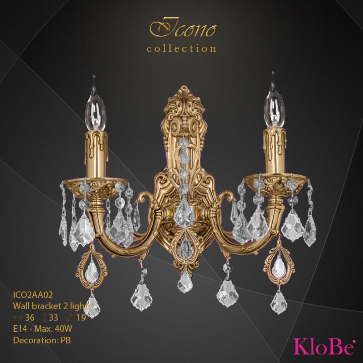 Aplique de pared 2 luces - Colección Icono - KloBe Classic